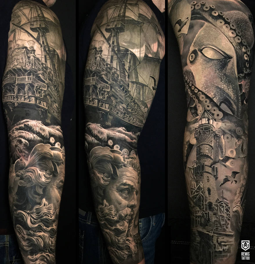 c0368a1ae Realistic Nautical Sleeve by Remistattoo on DeviantArt