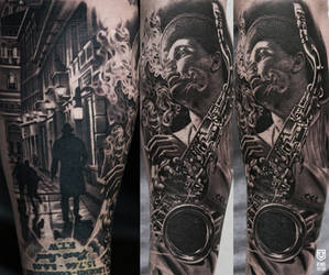 Realistic Music Tattoo by Remistattoo