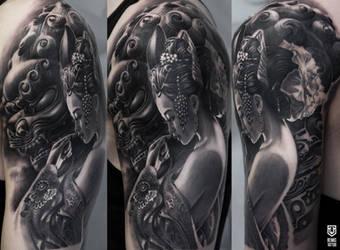 Realistic Geisha tattoo  by Remistattoo