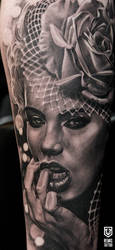 Realistic Black and Grey Woman Portrait by Remistattoo
