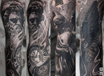 Realistic Black and grey statue tattoo by Remistattoo