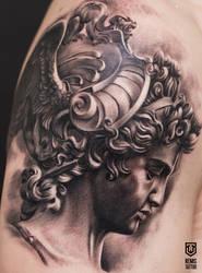 Realistic Black and Grey Greek Statue Tattoo by Remistattoo