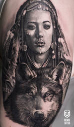 Realistic Girl with wolf Tattoo by Remistattoo