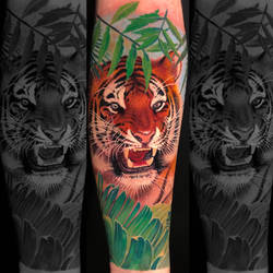 Realistic Color Tiger by Remistattoo