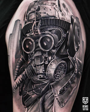 Gas mask tattoo cover up