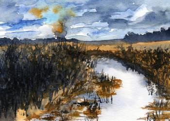 Prairie Creek and Smoke in Late Winter by HaleyGottardo