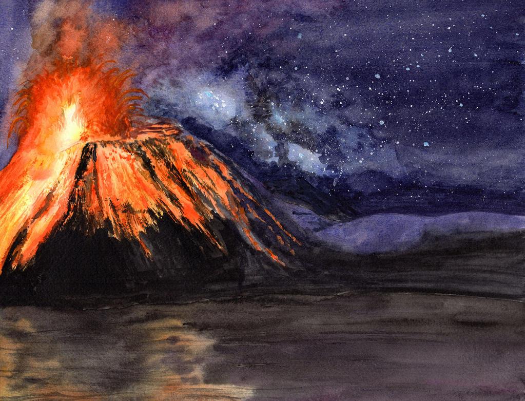 Volcano Under the Stars by HaleyGottardo