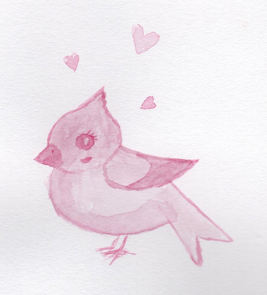 Cute Pink Bird by HaleyGottardo