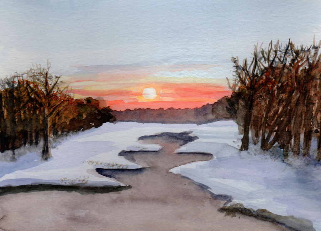 Early Winter Sunset in Watercolor