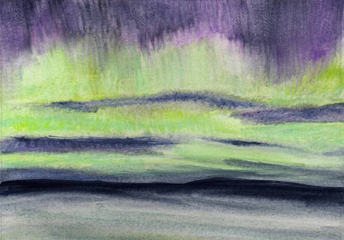 Ethereal Aurora Borealis in Watercolor