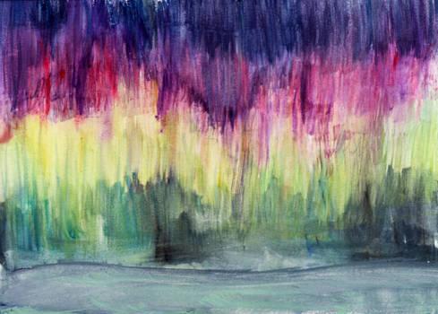 Colorful Aurora Borealis in Watercolor