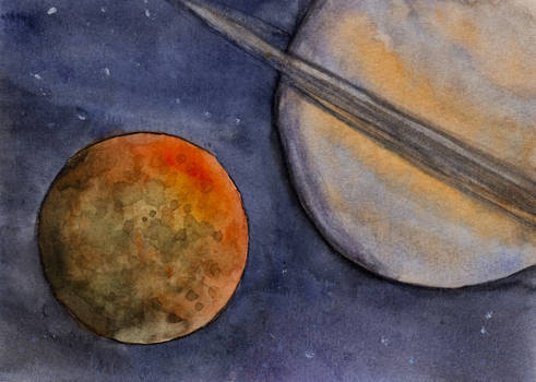 Moon and Gas Giant Planet in Watercolor