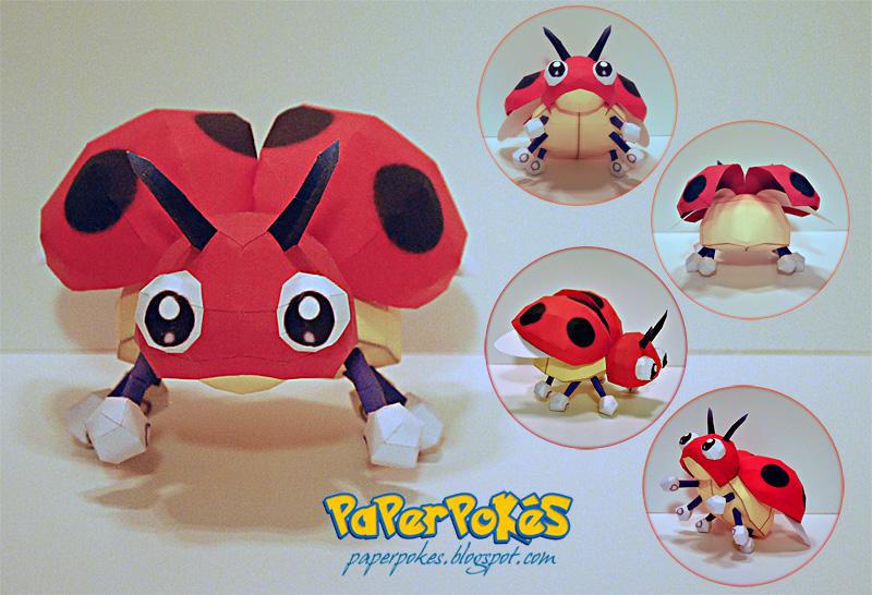 Pokemon Papercraft - Ledyba by PaperBuff