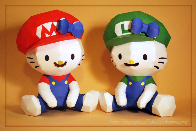 Hello Kitty as the Mario Bros by PaperBuff