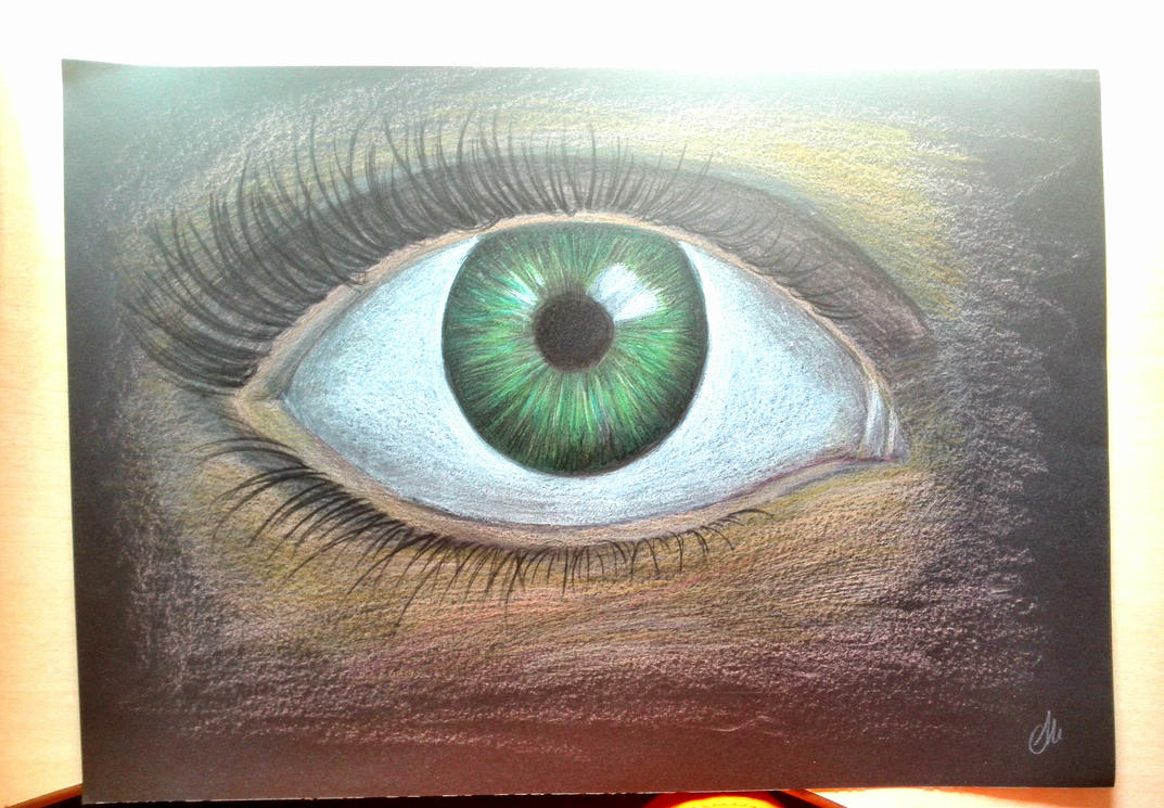 Green eye in black paper by Alisssvic
