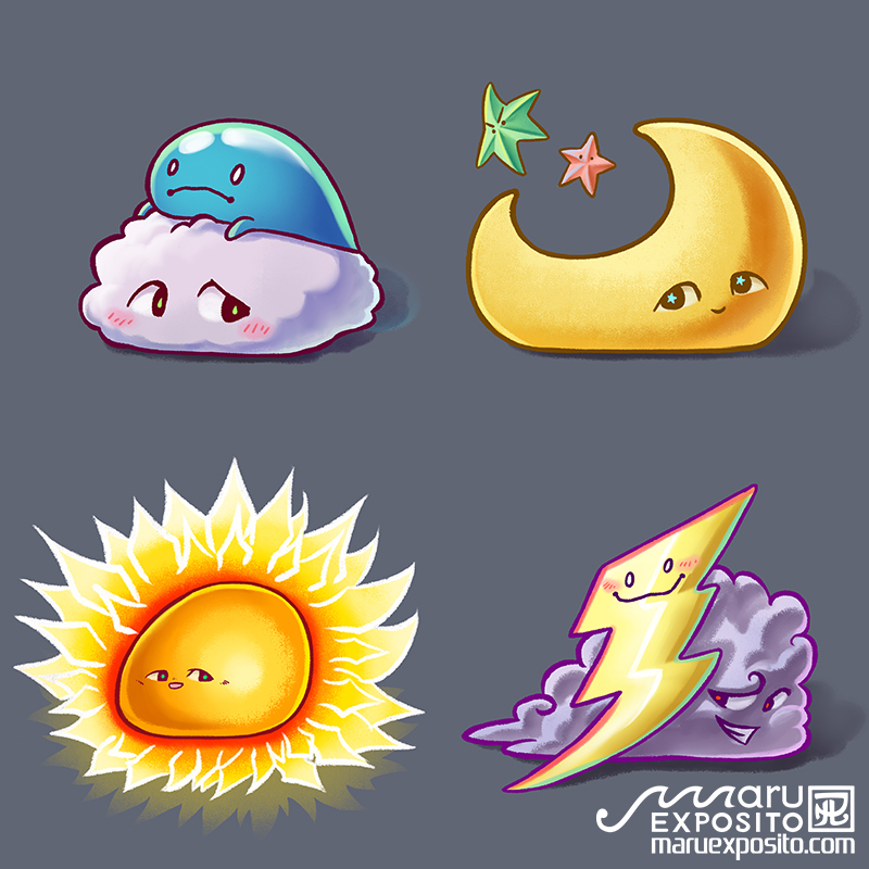 Weather family - Sun, Moon, Rainy/Thunder cloud by MaruExposito