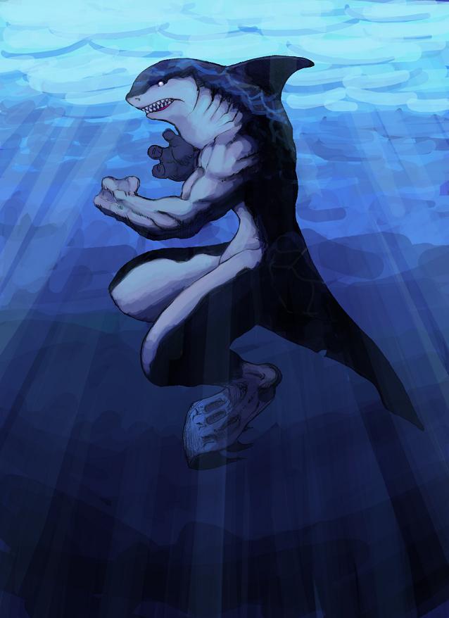 http://fc05.deviantart.net/fs15/f/2007/044/c/8/Shark_Man_by_MilwaukeeDriver.jpg