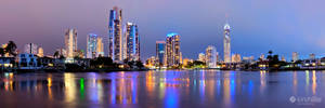 Gold Coast City Skyline Night Panorama