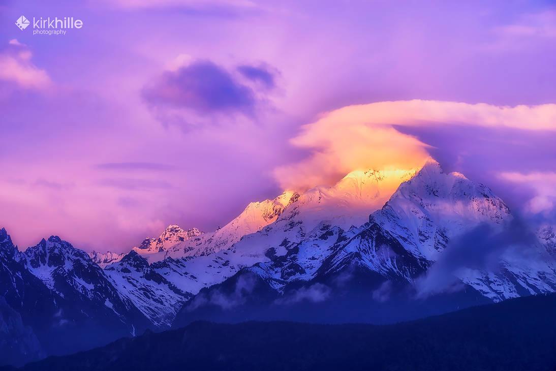 Meili Snow Mountain Shangri-la China Sunrise by Furiousxr