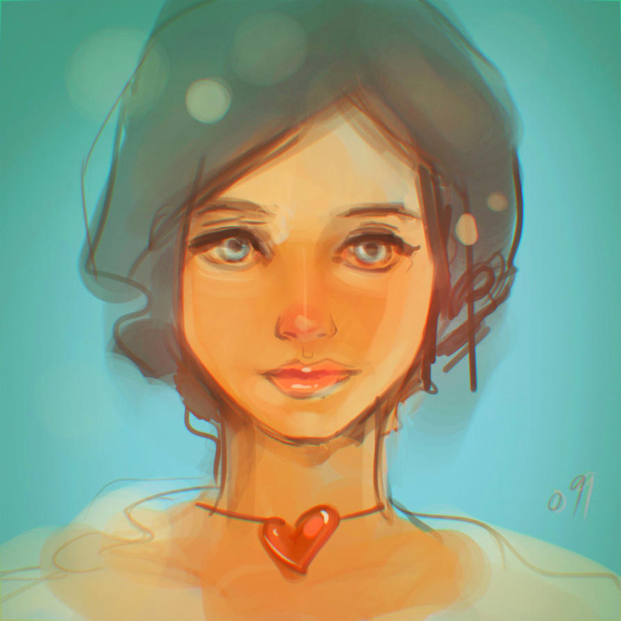 another random doodle of a girl's face by o9