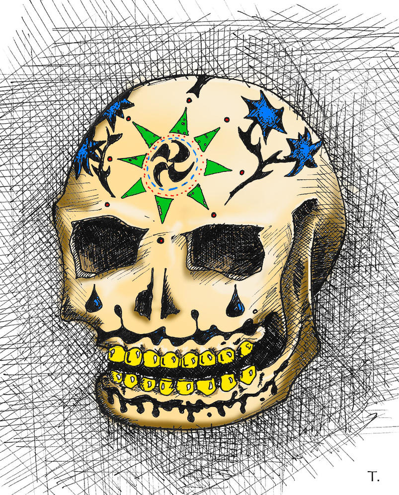 Candy Skull Corsshatch coloured2 by Rhyton