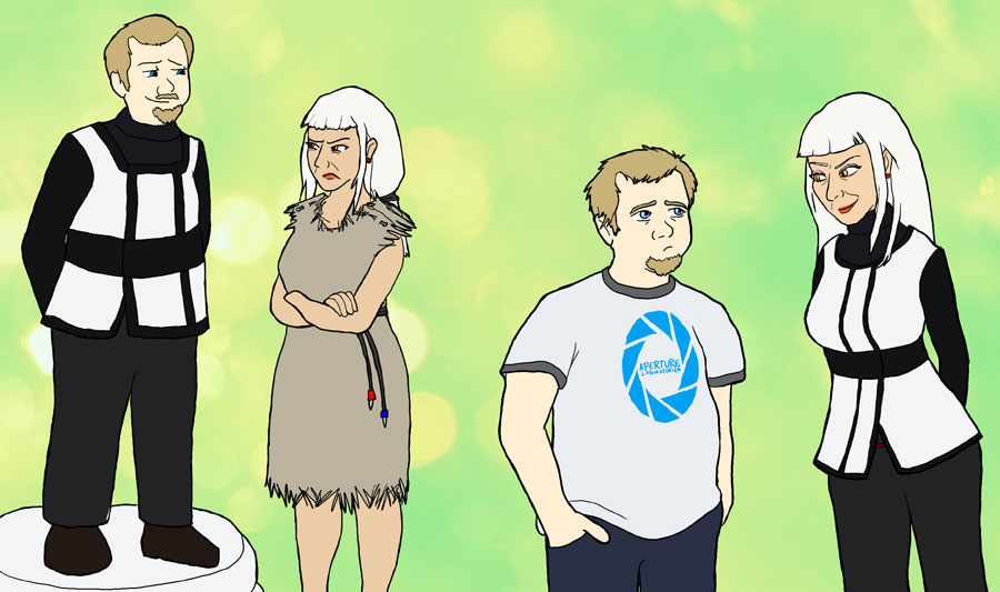 Human Wheatley And Glados By Sqbr On Deviantart