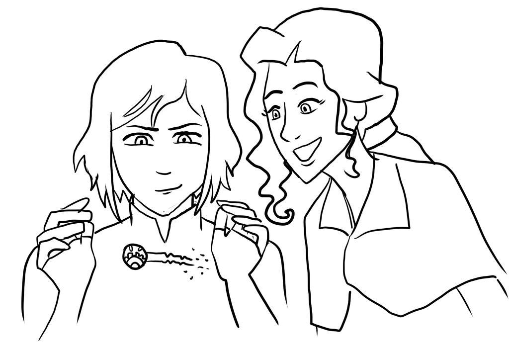 Korra Makes Asami a Hairclip by sqbr