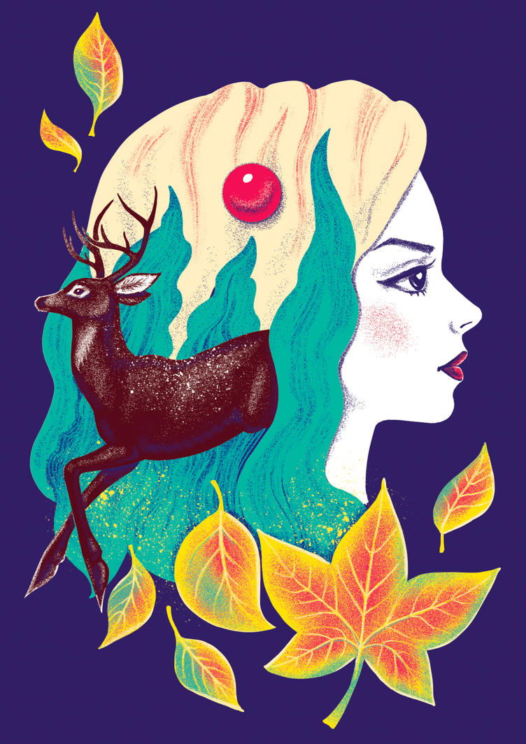 Girl And Deer by Esquirol