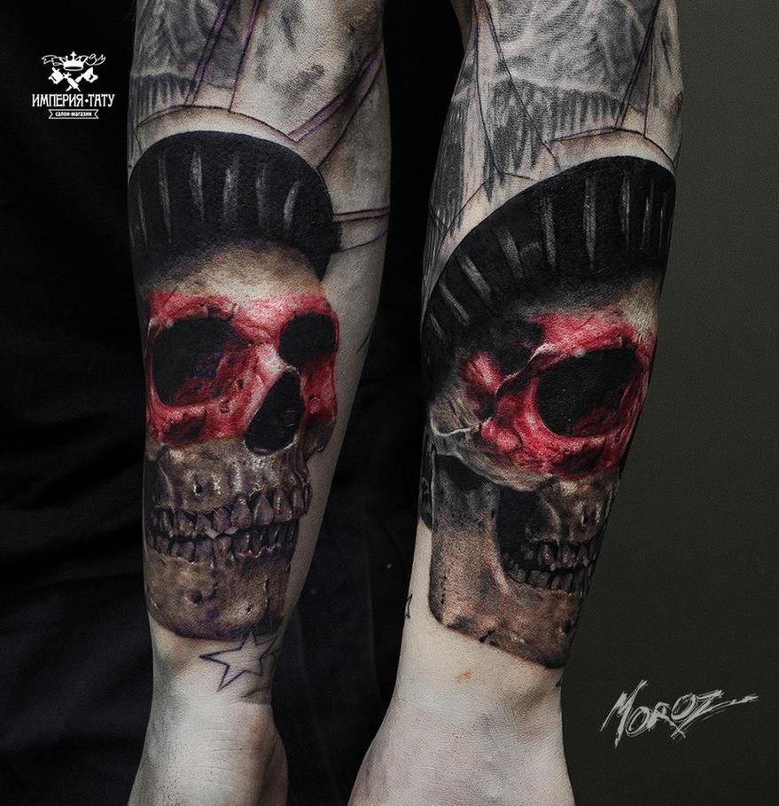 Trash Polka Skull By Mcrdesign On Deviantart: Trash Polka Skull In Progress By MorozTattoo On DeviantArt