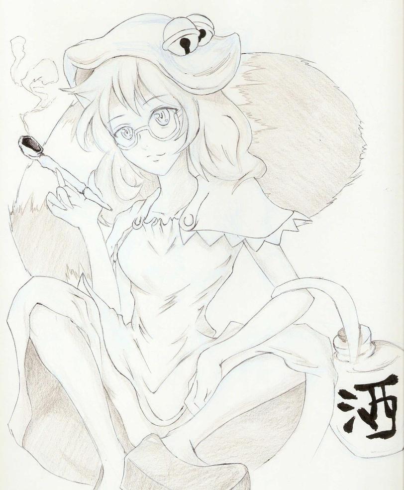 Touhou Fanart: Tanuki Shouldn't Smoke by Kasey-N-Moore