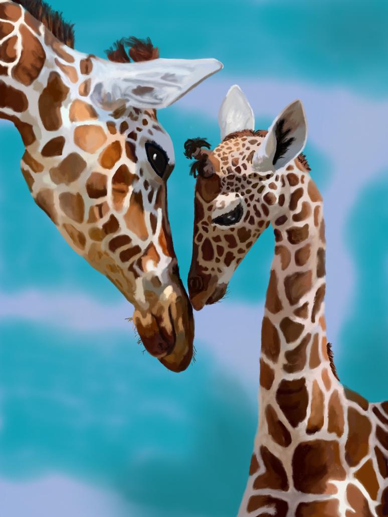 Giraffee Kisses In blue by BellaLyle