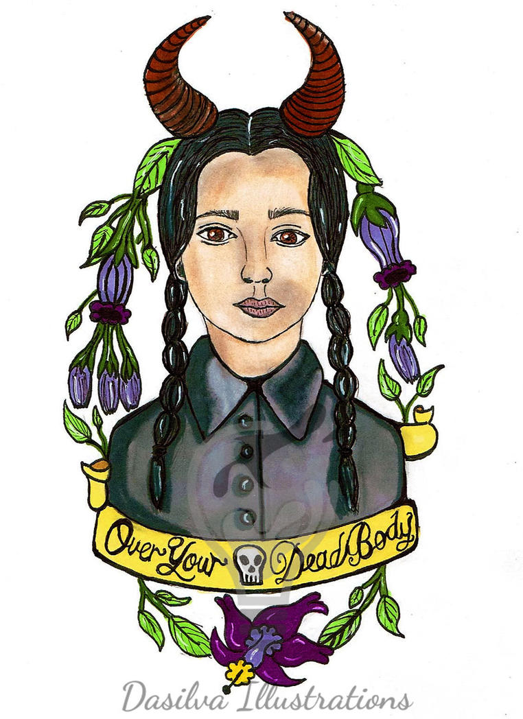 Wednesday Addams Tattoo by DasilvaIllustrations