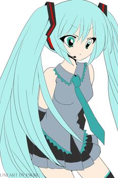 Miku Hatsune lineart coloured