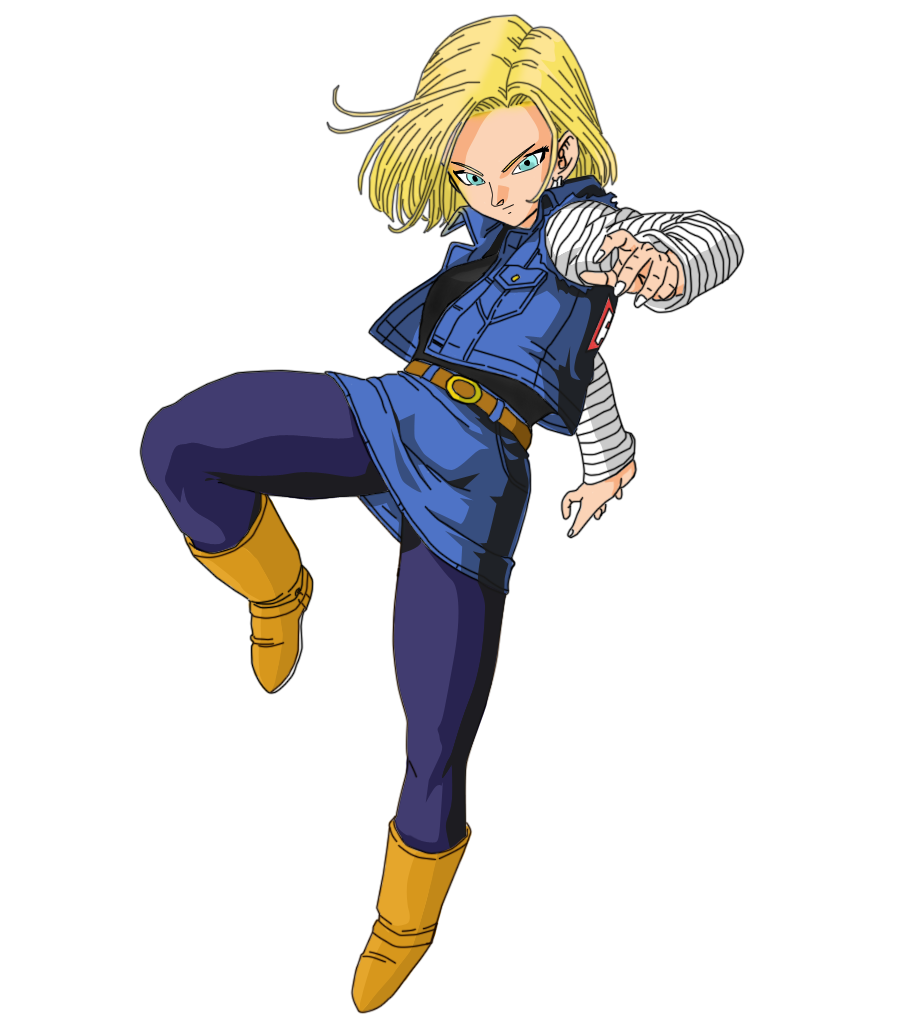 Android 18 And Tail Deviantart: Colored Line Android 18 By OPunkreas On DeviantArt