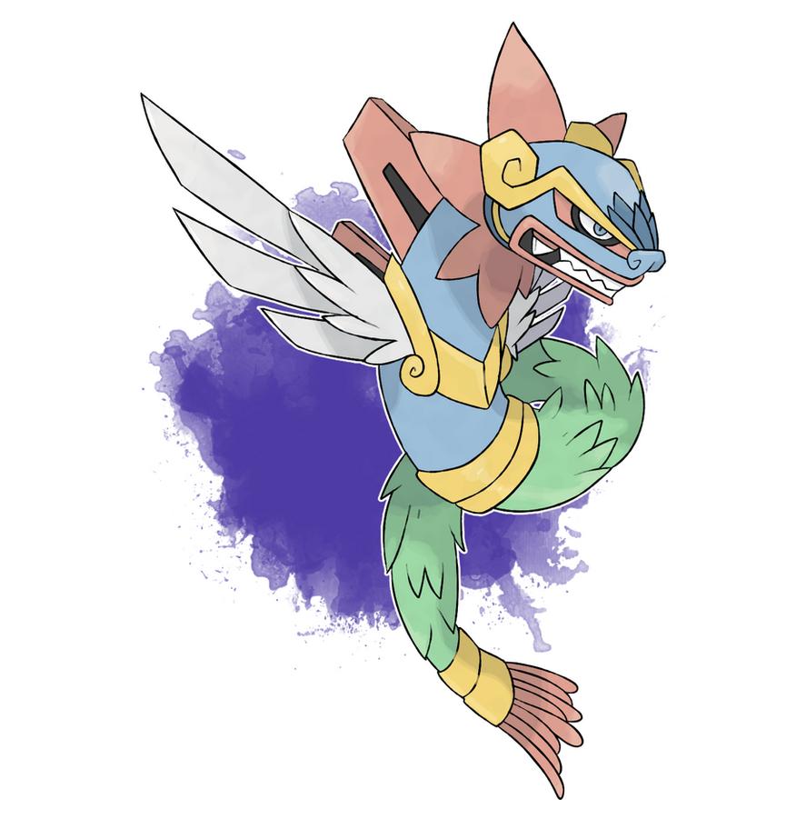 Fakemon #108 - Dracoatl by DevilDman