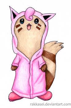 Furret with a Jigglypuff-raincoat