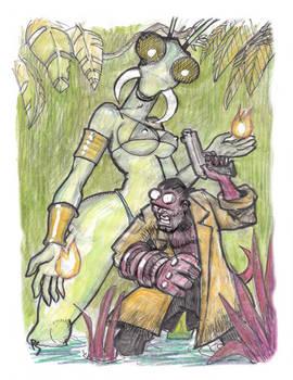 Hellboy and the Praying Mantis