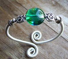 Sterling and Lampwork Bangle by kittydb