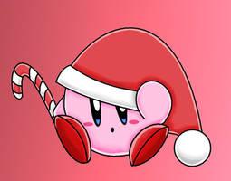 Santa Kirby by The-Super-Brawl-Girl