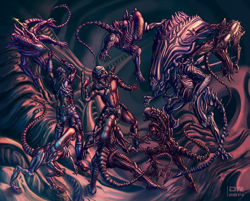 Surrounded Alien Vs Predator Tattoo Design By DerekRestivo