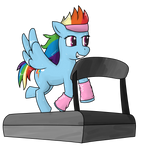Rainbow Dash on a treadmill