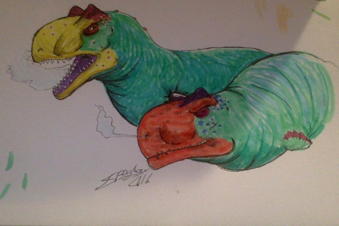 Carnotaurus couple by VenomousPoisons