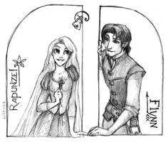 Rapunzel and Flynn and Pascal by CenturyHaze
