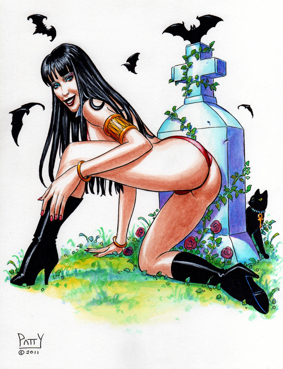 VAMPIRELLA GRAVEYARD GIRL Original EBAY Art PATTY by Sean-Patty