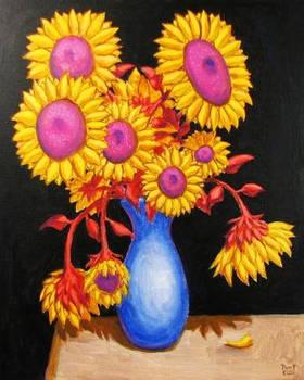 FLOWERS 5 Original Contemporary Art PATTY