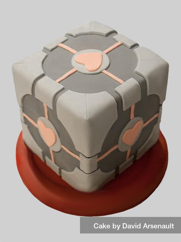 Companion cube cake by DavidArsenault