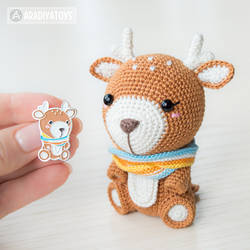 Deer Kira enamel pin and toy (crochet pattern)