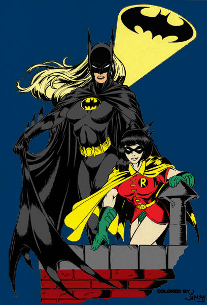 Batwoman and Robin by Halfax
