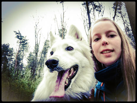 Me and my lovely dog in the forest I