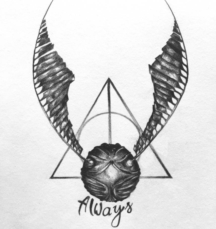 This is an image of Exhilarating Harry Potter Snitch Drawing
